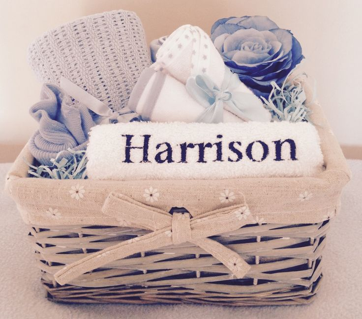 Image of Just for you Baby in Blue - Personalised Baby Boy Mini Gift Basket