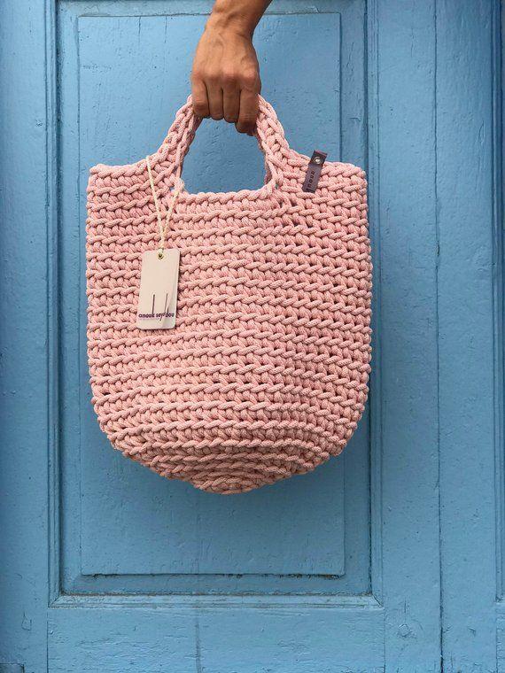 Tote Bag Scandinavian Style Crochet Tote Bag Handmade Bag Knitted Handbag Gift for Her BABY PINK color