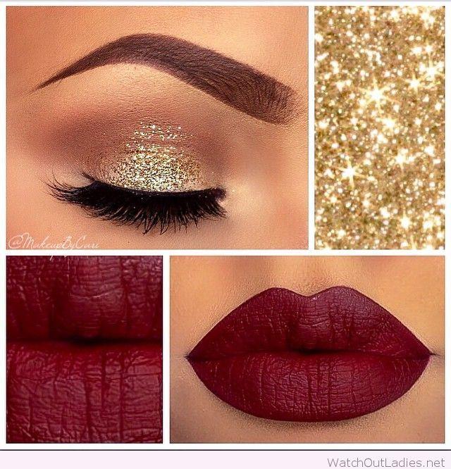 Gold and burgundy makeup for Christmas