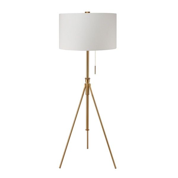 Get just the right amount of lighting with this adjustable floor lamp featuring a tripod base. The height of the lamp changes easily for customized lighting while the white drum shade complements the