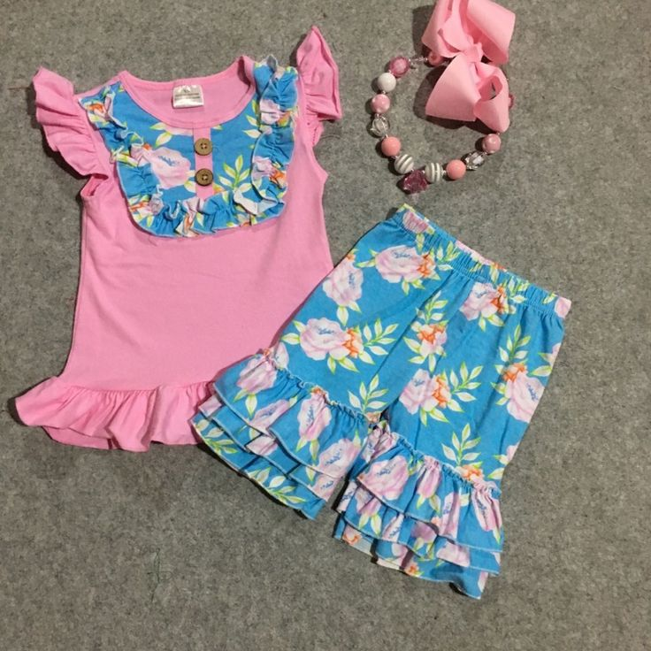 >> Click to Buy << girls summer cotton shorts clothing girls cute toddler girl clothes girls boutique outfits kids floral shorts with accessories #Affiliate