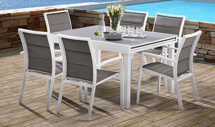 Salon De Jardin Blanc Et Gris 6 Personnes - Table + ...