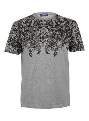 Grey Paisley Crew T-Shirt - Men's T-shirts  - Clothing