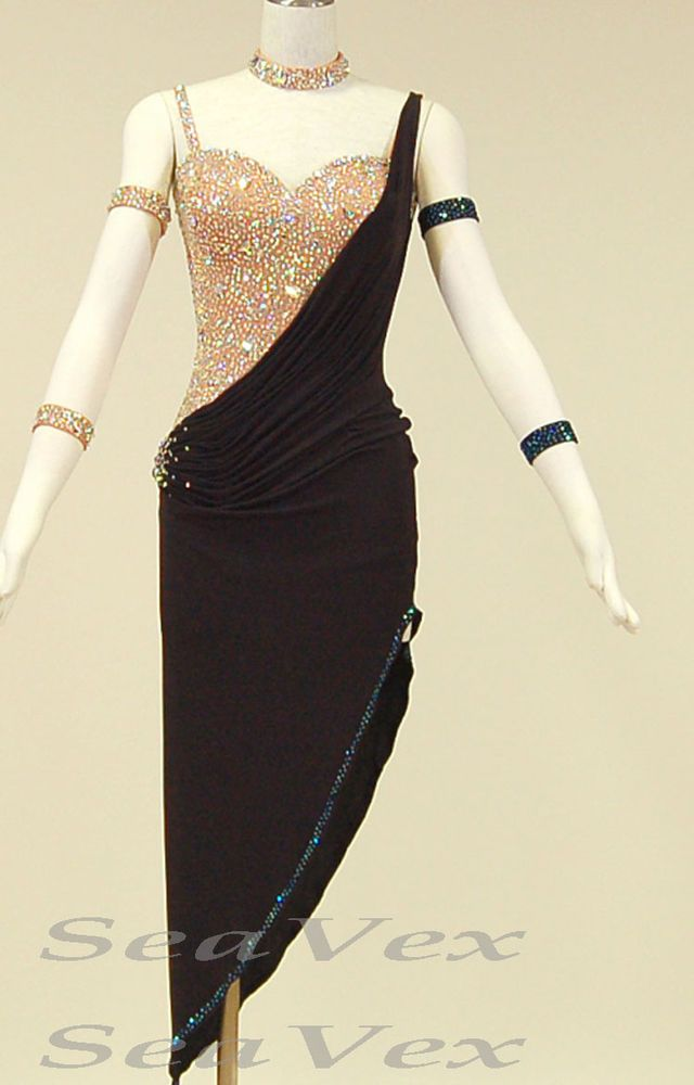 Women Ballroom Latin Salsa Rumba Samba Dance Dress US 4 UK 6 Flesh Black Color #Seavex