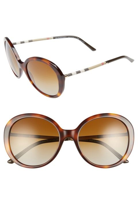 Burberry 57mm Check Temple Polarized Round Frame Sunglasses