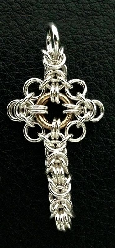 Cross Sterling Silver and Brass Byzantine Necklace Pendant 1 1/2 x 1/2 inches