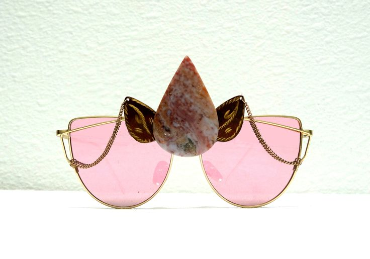Rose Gold Pink Decorated Sunglasses, Gold Chain, Recycled Vintage Jewelry, Pink Stone, Party Glasses, Festival Sunglasses, Funky Eyewear,