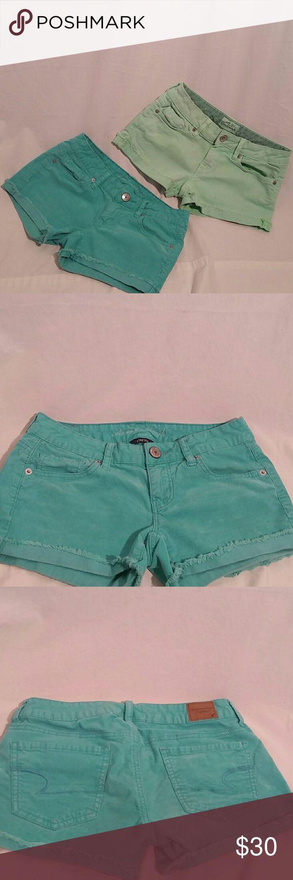 Aeropostale & American Eagle Shorts Bundle Aeropostale lime green shorts, 98% Cotton 2% elastane, size 0. American Eagle Teal shorts, 98% Cotton 2% Spandex, size 0. Buy already bundled together. Aeropostale Shorts