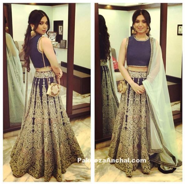 Bhumi Pednekar in sleevless Lehenga Choli in SVA by Sonam and Paras Modi-PakeezaAnchal.com