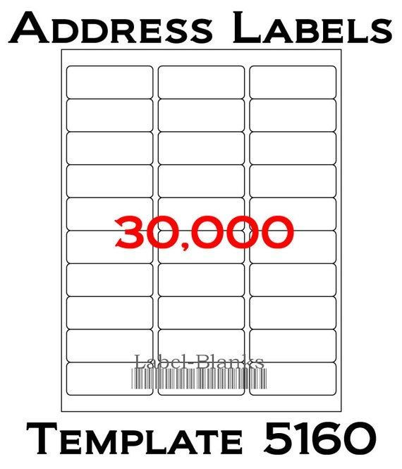 5160 Avery Label Template New Laser Ink Jet Labels 1000 Sheets 1 X 2 5 8 In 2020 Address Label Template Printable Label Templates Avery Label Templates