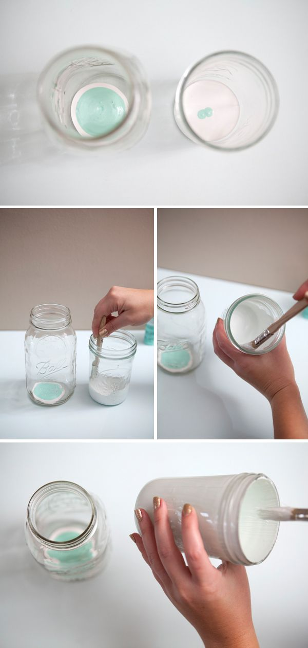 Diy Hand Painted Glass Jars Using Martha Stewart Crafts Paint By Somethingturquoise Com