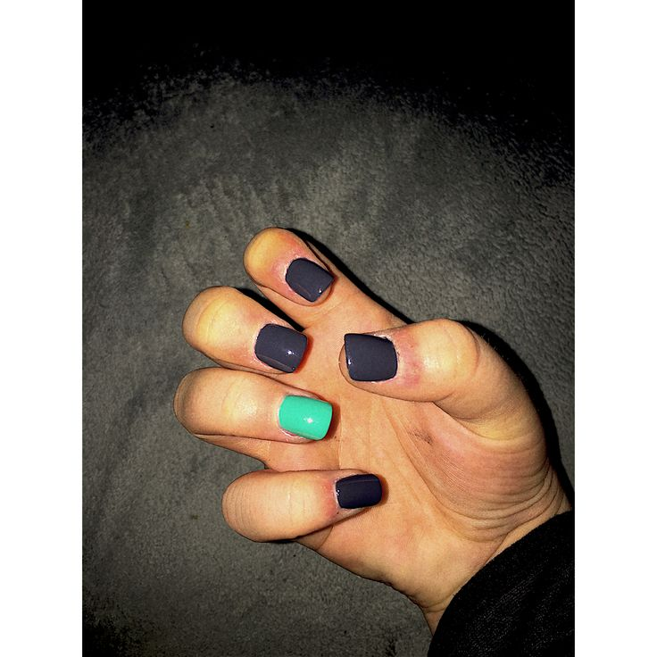 Dark grey with a mint green accent. Acrylic nails. <3