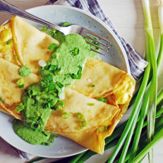 These savory breakfast crepes feature scrambled eggs and white cheddar ...