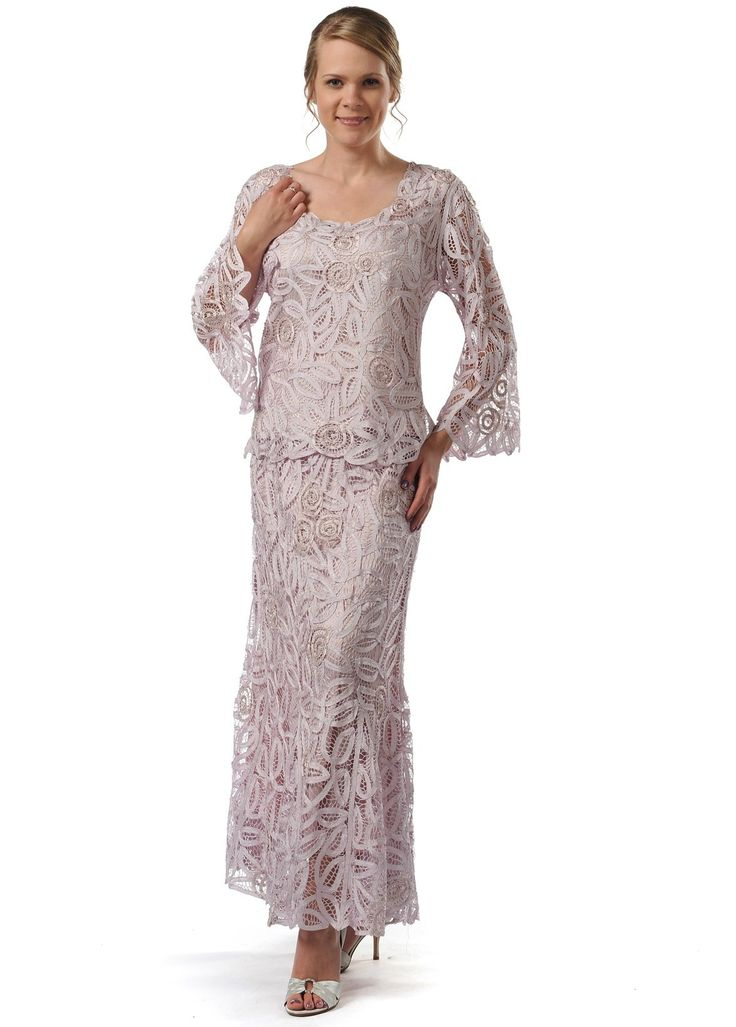 Soulmates D8785 Crochet Beaded Silk Lace Fit-n-Flare Ankle Length 2 pc Dress (Missy, Plus Sizes)