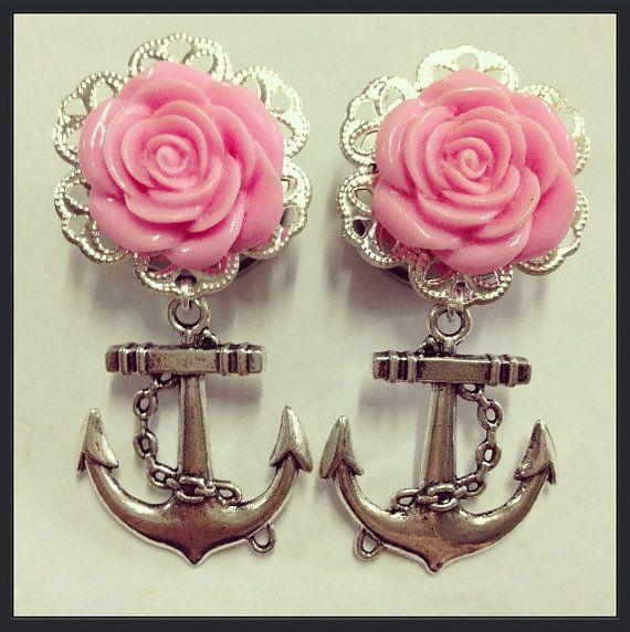 Silver Flower Filigree Anchor Ear Plugs by TeacupRose on Etsy, $25.00