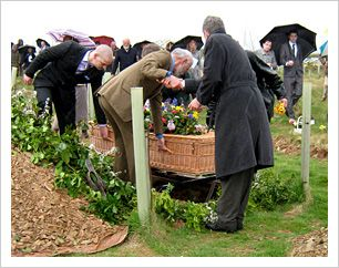 Green funerals and natural burials in woodlands and meadows.