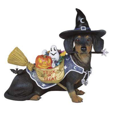 wiener dog  collecibles | Halloween Dachshund Dog Figurine - The Danbury Mint