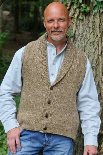 Men S Donegal Gilet With Shawl Collar 100 Pure Wool
