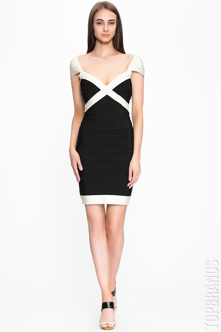 Чёрно-белое бандажное платье мини — http://fas.st/Y4vpp3