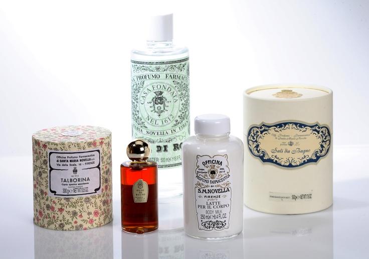 Talcum Powder, $42.  Rose Water, $55.  Pomegranate Bath Salts, $55.  Body Milk for Women, $85.  Fragranced Bath Oils, $80.  (All products by Santa Maria Novella, santamarianovellausa.com.)