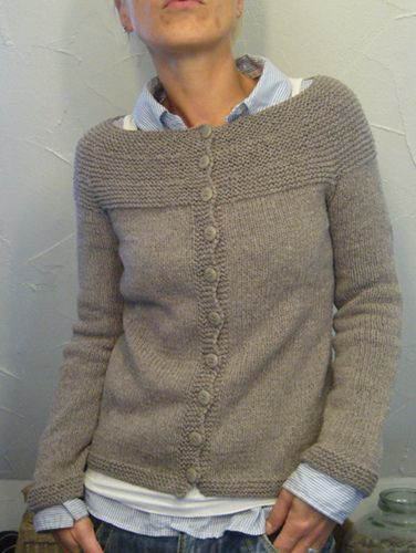 Melissa LaBarre design -- Garter Yoke Cardigan knit by lilalu on Ravelry here:  http://www.ravelry.com/projects/lilalu/22-garter-yoke-cardigan