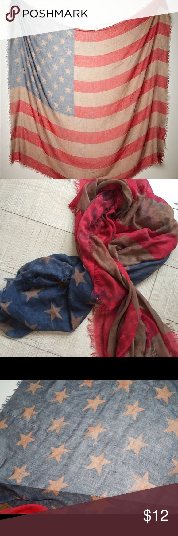 Free People American Flag Scarf Large American flag scarf. Has 2 snags as shown in pictures Free People Accessories Scarves & Wraps