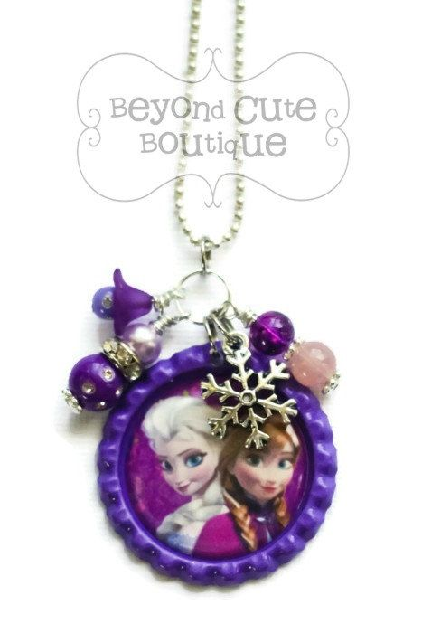 ELSA & ANNA FROZEN Necklace by BeyondCuteBoutique on Etsy // birthday party favors decor gift