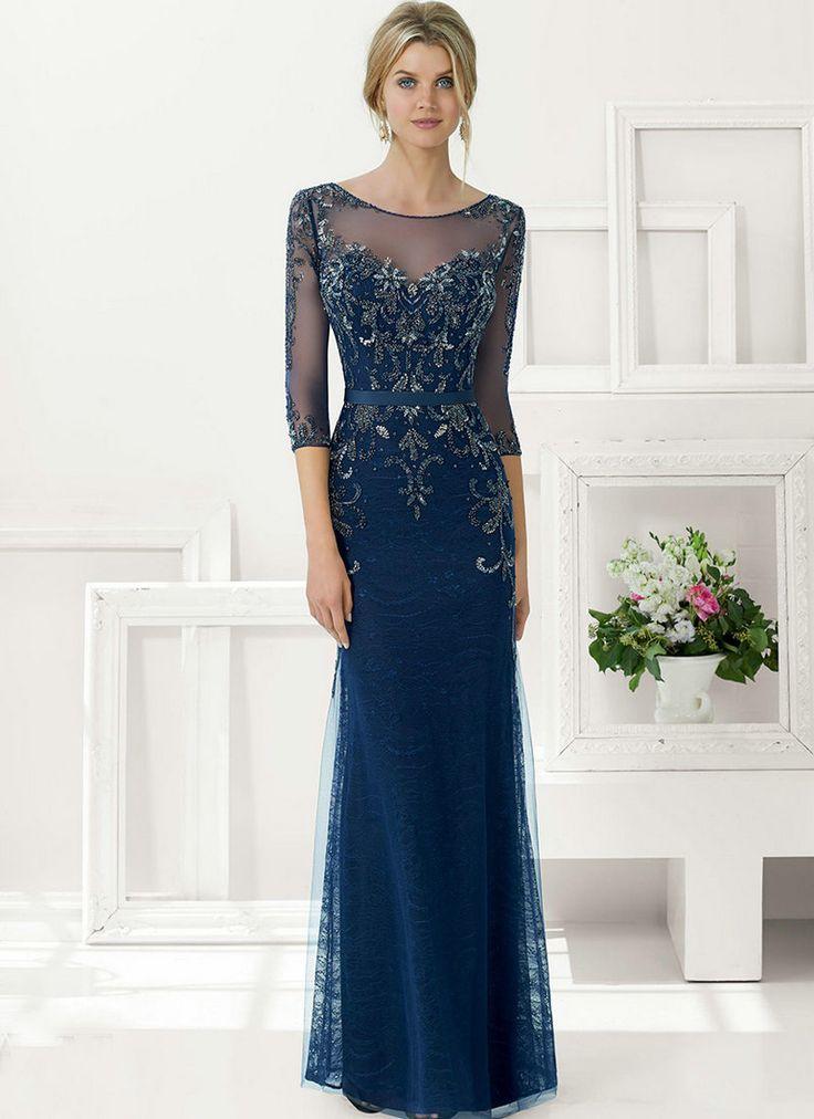 Cheap Estaño de azules marinos vestidos lf2739 madre del novio con mangas de manga larga de la madre de novia traje Illusion cuello de tamaño personalizado en Color 2015, Compro Calidad Vestidos para Madre de la Novia directamente de los surtidores de China:             >> Viste tu vida <<                  -----------------------------------------------------------