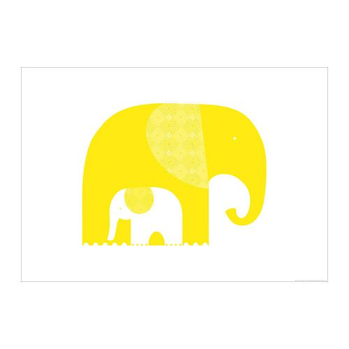 Yellow elephants from ikea by tara hogen art for Poster ikea