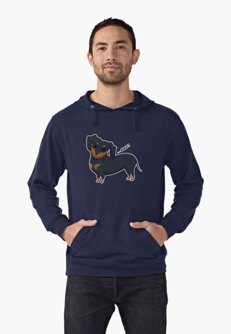 Cartoon Dachsund Lightweight Hoodies by AnMGoug on Redbubble. #dog #dachshund #hoodie