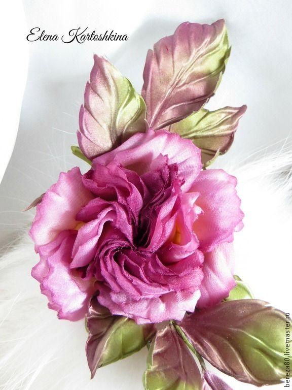 "Купить Роза брошь из шелка ""Cherry"" Цветы из шелка - лиловый, роза, роза из шелка"