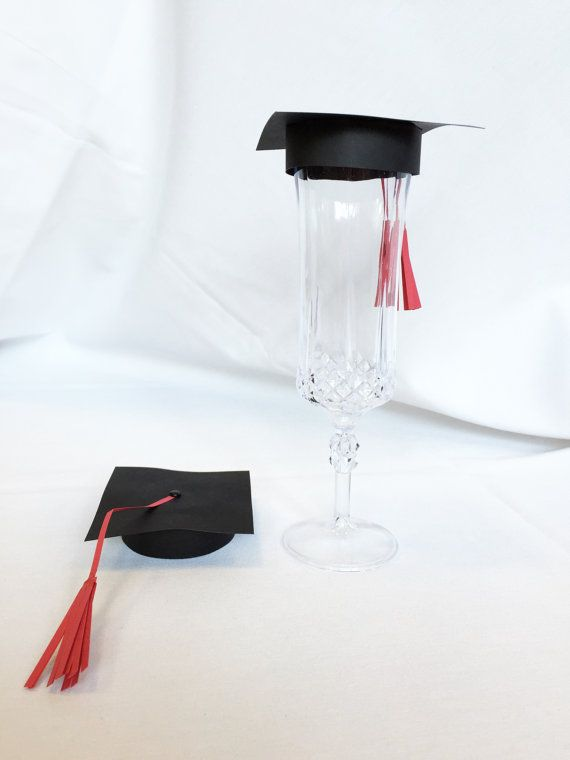 Graduation Cap Champagne Flute Topper, set of 10 - Graduation Party - Graduation Party Decor - Gradu