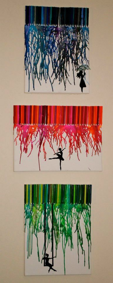 Melted crayon and silhouette art.  Can totally see Tarzan swinging on vines on the green one canvas
