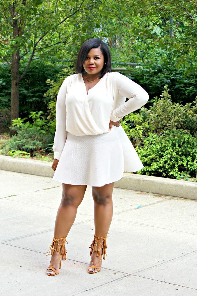 Plus size bodysuit and Scuba skirt w Schutz Fringe Sandals - 760 Best Fashion - Plus Size Images On Pinterest Plus Size