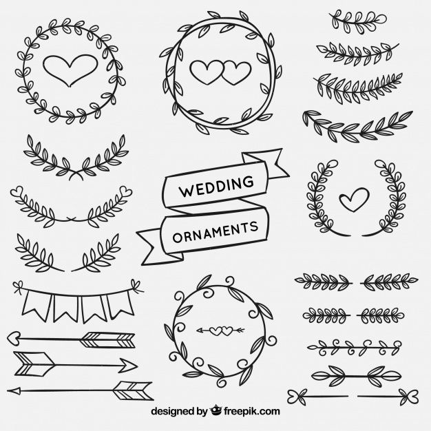 Baixe Conjunto De Enfeites De Casamento Na Mao Desenhada Estilo Gratuitamente Wedding Ornament How To Draw Hands Ornaments Design