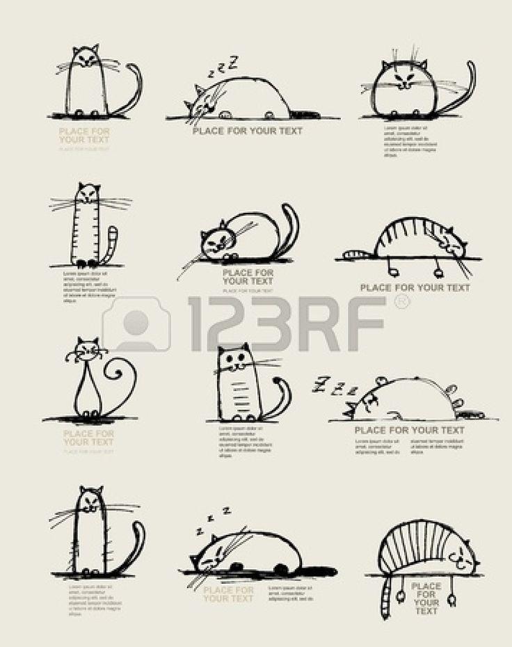 Смешные кошки эскиз, дизайн с местом для вашего текста Векторный