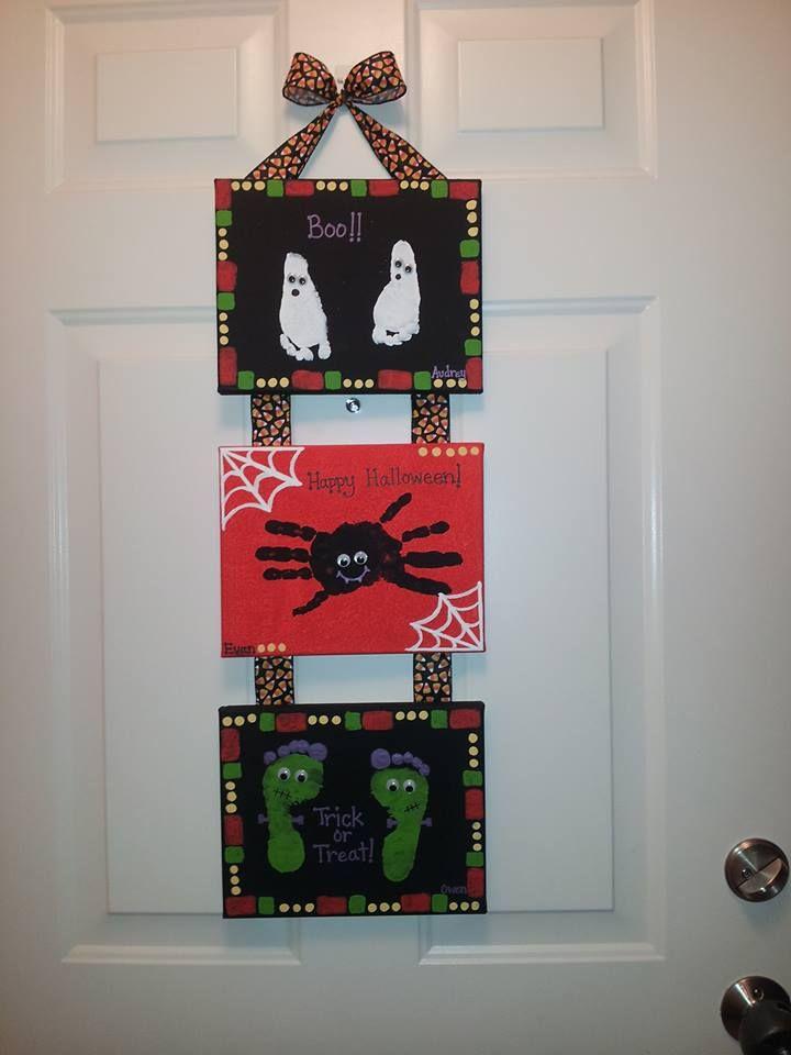Halloween Handprint & Footprint Canvas Craft