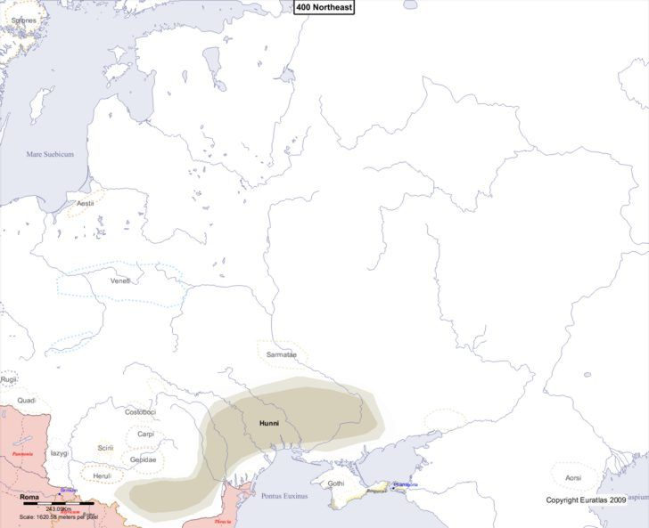 Map showing Europe 400 Northeast
