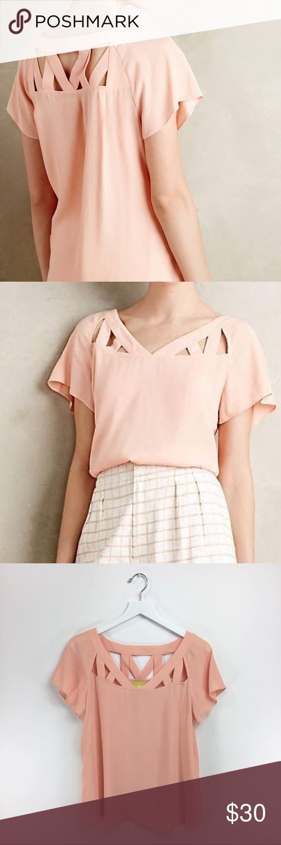 """Maeve Anthropologie Tri Cut Peach Blouse Such a gorgeous blouse! Beautiful tucked into a skirt or paired with skinny jeans. Size: 4 *Gently used without flaws Measurements: B- 19"""" A- 9"""" L- 24"""" Anthropologie Tops Blouses"""