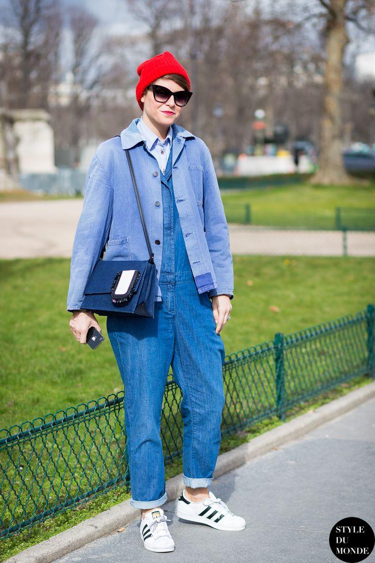 all denim everything (with Adidas originals). #ElisaNalin keeping it interesting in Paris.