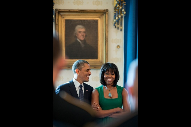 President Barack Obama With 1st Lady Michelle Obama In The Blue Room.... January 18, 2013White House