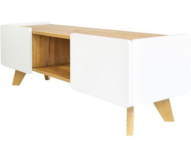 Weisse Tv Konsole Lett Mit Holzplatte White Tv Wood Paneling Wood