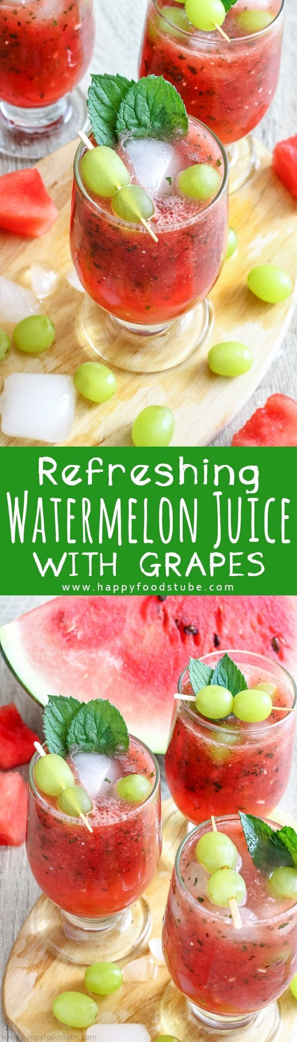 This refreshing watermelon juice with grapes is the best summer drink. Watermelon, mint & honey are combined together and grapes are added for the extra flavor. Non Alcoholic summer drink ready in 10 minutes via @happyfoodstube