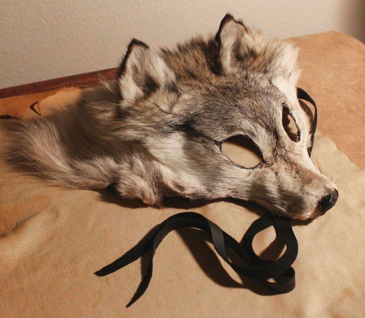 Realistic fur wolf mask