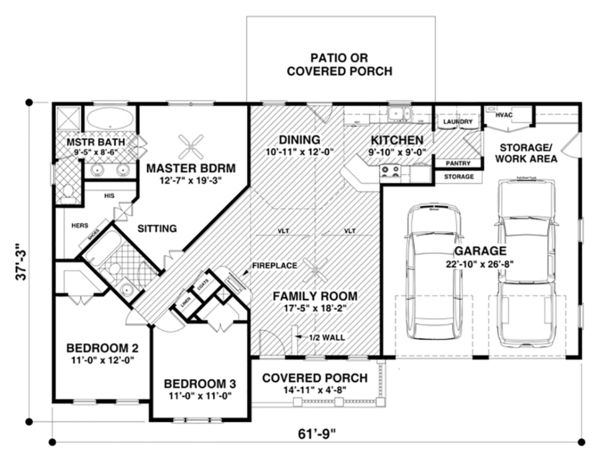 Craftsman Style House Plan - 3 Beds 2 Baths 1399 Sq/Ft Plan #56-618 Floor Plan - Main Floor Plan - Houseplans.com
