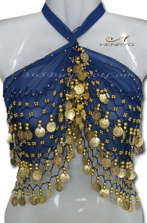 You will love this handmade belly dance hip scarf with more than 158 Gold Coins that produce a lovely jingly sound when you move. It is 100% hand crocheted knots with beads and coins. This belly dance scarf will for sure attract attention on you, and only you!!   http://henrygdance.com/belly-dance/multi-use-scarfs-belts/egyptian-belly-dance-scarf-belt-hip-wrap-deep-blue.html