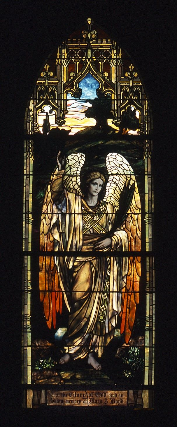 One of three Tiffany windows in Trezevant Hall at Grace-St. Luke's Episcopal Church.  This window is titled 'The Evening Angel.'