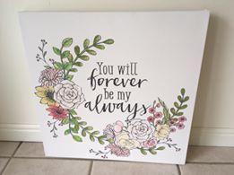 Chalk Couture - Boho Flowers {Chalk Transfer} with the You will Forever be my Always {Chalk Transfer} on Canvas! #chalkcouture (via Tara Roark)