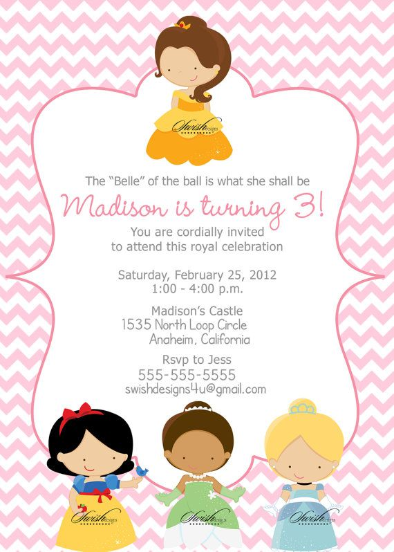 47 best princess party images on pinterest | princess party, Birthday invitations