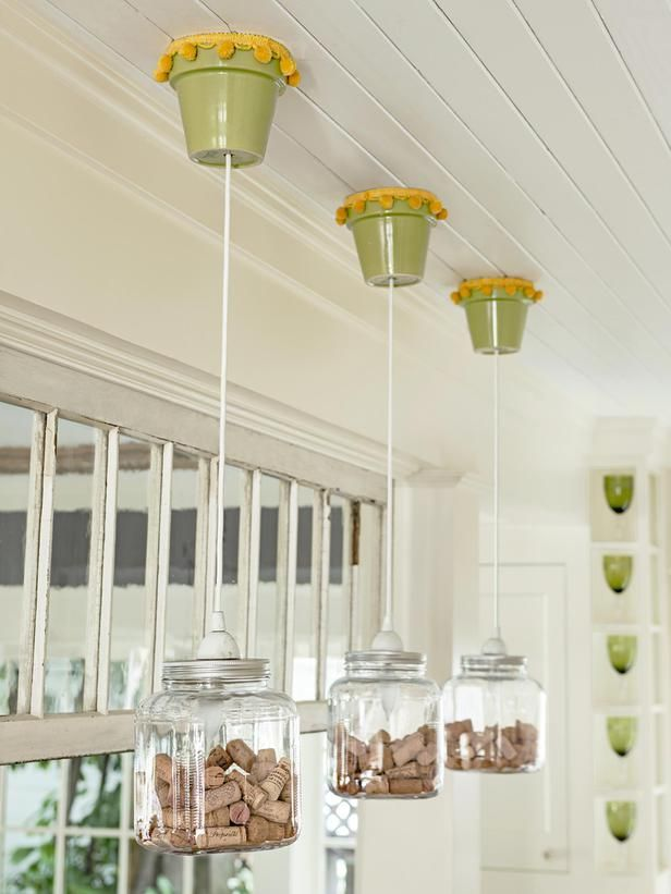 Find out how one homeowner made these flowerpot fixtures #DIY #hgtvmagazine http://www.hgtv.com/kitchens/go-green-with-a-recycled-kitchen/pictures/page-12.html?soc=pinterest